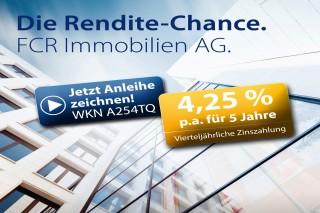 FCR Immobilien AG: Neue 4,25-%-Anleihe mit vierteljährlicher Zinszahlung kann ab heute gezeichnet werden